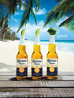 c57054b61f7 Another Corona beer commercial featuring three Corona Extra beers on a  lovely beach. Two of the bottles with the traditional lime slice and one  greedy ...