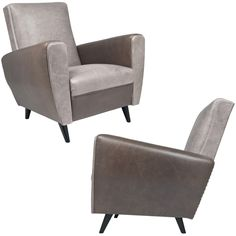 1stdibs | French Mid-Century Pair of Two Tone Leather Club Chairs
