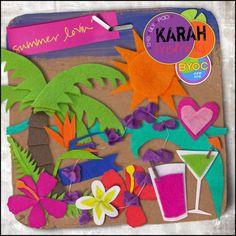 Summer Lovin' - feltie Elements by Karah Fredricks ... Digital Scrapbooking