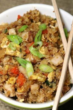 """Spicy Cauliflower Fried 'Rice' with Pork 