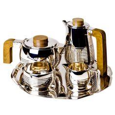Art Deco Silver Plate Tea Set and Tray - Coffee Set - Ideas of Coffee Set - Art Deco Silver Plate Tea Set and Tray For Sale at Art Deco Decor, Art Deco Home, Art Deco Design, Silver Teapot, Silver Plate, Art Nouveau, Art Et Architecture, Vase Deco, Tee Set