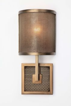 "CS2165 Contemporary cover sconce, 13""H, with diffuser in fine mesh and light mica, and backplate with a medium mesh motif. Shown in a Light Bronze finish."