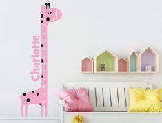 Giraffe height chart wall sticker ( FREE application tool ) Wall Colors, Colours, Pink Giraffe, Height Chart, Childrens Wall Stickers, Chart Design, Child Love, Boy Or Girl