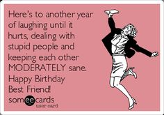 Here's To Another Year Of Laughing Until It Hurts, Dealing With Stupid People And Keeping Each Other MODERATELY Sane. Happy Birthday Best Friend! | Birthday Ecard