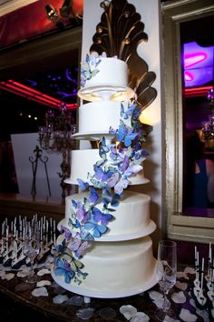 Blue Butterfly Wedding Cake By Cupid Cupcakery