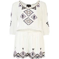 Cream embroidered pattern peasant playsuit - playsuits - playsuits / jumpsuits - women