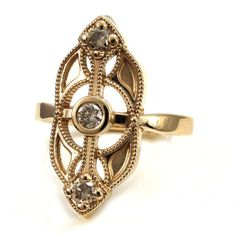 Champagne Diamond Art Nouveau Engagement Ring - 14k Yellow Gold  - Ready to Ship