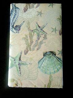 Sea Life Vinyl Tablecloth 52 x 102 Coastal Dining Summer Beach House