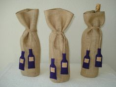 Wine Gift Bags with Ties Handmade Burlap Wine bottles on ETSY Wine Bags, Wine Table, 60th Birthday Party, Burlap Crafts, Bottle Bag, Country Crafts, Wine Gifts, Bridal Shower, Sewing Projects