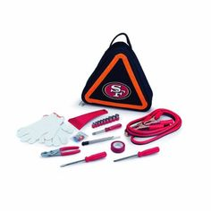 NFL San Francisco 49ers Roadside Vehicle Emergency Kit by Picnic Time. $45.95. This NFL Roadside Emergency Kit will give you peace of mind knowing that you're prepared when an unexpected auto emergency arises. The kit features a triangular-shaped tote with a digital print team logo, and a carry handle that doubles as a reflective hazard warning sign and contains essential tools for roadside emergency repair. Included in this kit: set of 8-1/4 inch jumper cables wi...
