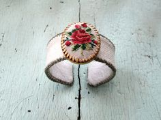 Petit Point Rose Cuff Bracelet