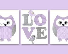 lavender and grey owl nursery - Google Search