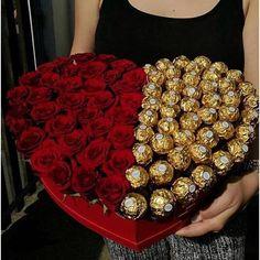 Pinterest Valentines, Flower Box Gift, Flower Boxes, Diy Bouquet, Candy Bouquet, Makeup Bouquet Gift, Boquet, Valentines Flowers, Valentine Day Gifts
