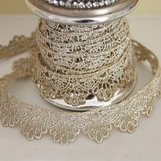 ❥ Tarnished Silver Lace Trim - this could be an amazing design detail for wedding stationery. Hand-finished, maybe even with a personalized guest name tag - imagine the wow factor. We love to help our customers wow their guests like that!
