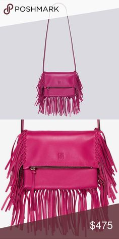 Carolina Herrera Sophia Fringe Handbag + Clutch This stunning magneta pink leather bag is a real eye catcher! Made of genuine calfskin and silver tone hardware. It consists of 2 separate bags- one small top zip cross body bag with adjustable strap and the second is a flap over fringe clutch that that can be attached to the cross body or used on its own. Each bag has its own dust bag. Absolutely amazing design and color. Excellent condition! SOLD OUT & SUPER HARD TO FIND! Trade value $650…