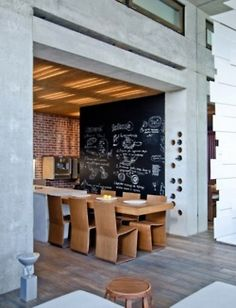 <3 dining table from kitchen and chalkwall