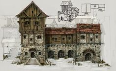 Page 2 / Medieval Pictures / Digital Art Gallery Fantasy City, Fantasy Castle, Fantasy House, Fantasy Places, Fantasy Map, Medieval Fantasy, Medieval Houses, Medieval Town, Environment Concept Art
