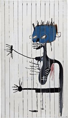 """JEAN-MICHEL BASQUIAT  Untitled (Lung),1986  Acrylic on wood.  96 1/2 x 55 in. (245.1 x 139.7 cm.)  Signed and dated """"Basquiat 86"""" on the reverse.  ESTIMATE $3,500,000-4,500,000"""