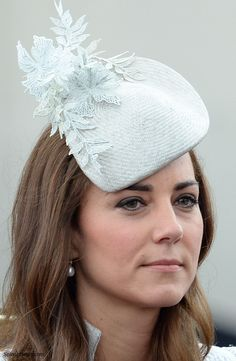 HRH The Duchess of Cambridge attending Thr 2014 Trooping the Colour Ceremony/Jane Taylor Millinery, Annoushka pearl drop earrings