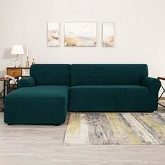 Winston Porter Bolee L-Shaped Jacquard Stretch Box Cushion Sofa Slipcover Fabric: Teal Sectional Sofa Slipcovers, Sofas, Armchair Slipcover, Slipcovers For Chairs, Cushions On Sofa, Canapé Angle Convertible, L Shaped Sofa, Box Cushion, Couch Covers