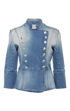 Spot Bleached Denim Jacket by PIERRE BALMAIN Now Available on Moda Operandi
