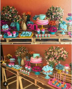 Festa Tropical Flamingo Party, Flamingo Birthday, 30th Birthday, Birthday Parties, Its My Bday, Luau Party, Kids Planner, Dessert Table, Birthday Decorations