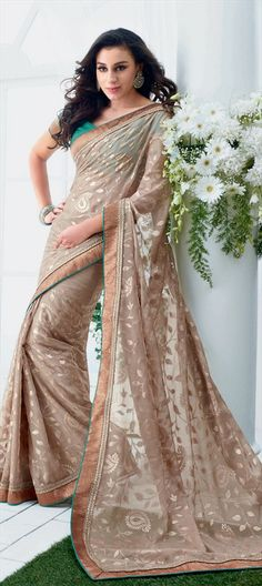 130646: Beige Saree with Floral Embroidery