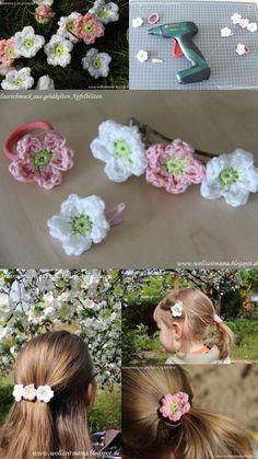 DIY : Haarschmuck selber machen mit gehäkelten Apfelblüten - by wollzeitmama