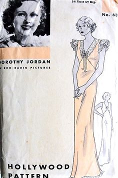 1930s GORGEOUS Bias Cut NightGown Lingerie Pattern HOLLYWOOD 631 Slinky Gown In Two Figure Flattering Styles Bust 34 Featuring Starlet Dorothy Jordan Vintage Sewing Pattern