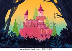 Illustration for Children: Castle in the Forest. Realistic Fantastic Cartoon Style Artwork / Story / Scene / Wallpaper / Background / Card Design  - stock photo