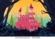 Illustration for Children: Castle in the Forest. Realistic Fantastic Cartoon Style Artwork / Story / Scene / Wallpaper / Background / Card Design  - stock photo