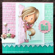 Lucy loves scrapping: Polkadoodles digi stamp handmade hand colored cute pink and aqua girly card Welcome Card, Bullet Journal Lettering Ideas, Kids Birthday Cards, Love Craft, Copics, Copic Markers, Little Darlings, Digital Stamps, Creative Cards