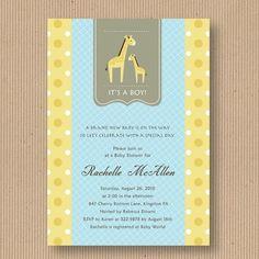 Giraffe Baby Shower Invitation for Girl or Boy by RoxterDesigns, $18.00
