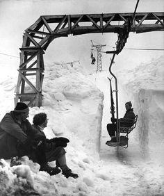 the first chair lift built in Sun Valley Idaho Ski Vintage, Vintage Ski Posters, Vintage Travel, Alpine Skiing, Snow Skiing, Sun Valley Idaho, Ski Racing, Ski Lift, Ski And Snowboard