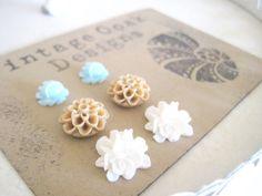 Seashore Flower Earrings 6pc Set  Seafoam by VintageOoakDesigns, $16.00