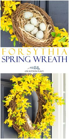 Bring a pop of yellow to your front door with this DIY Spring Forsythia Wreath. Uses basic craft store items. Easy and fast to assemble! #spring #springwreath #forsythia #forsythiawreath #yellow #yellowwreath via @adrake606