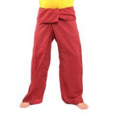 Tailandés pantalón de mezcla de algodón extra larga - roja