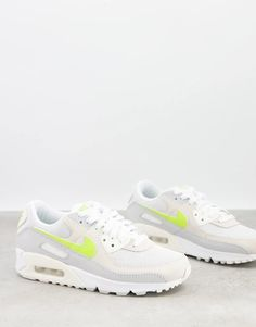 Nike Air Max 90 trainers in white and lemon pastel | ASOS Air Max 90, Nike Air Max, Nike Logo, Air Max Sneakers, Sneakers Nike, Baskets, Profile Design, Real Leather, Trainers