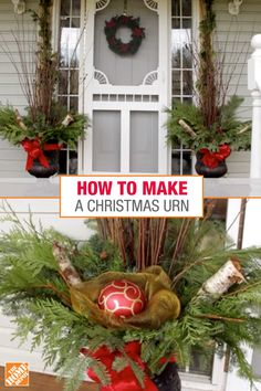 Create an outdoor Christmas urn and make your front porch even more welcoming during the holidays. This DIY Christmas urn is made of low-maintenance fresh greenery and can be done in under an hour. How to Make a Christmas Urn Diy Christmas Urns, Front Door Christmas Decorations, Rustic Christmas, Christmas Projects, Simple Christmas, Winter Decorations, Christmas Ideas, Christmas Arrangements, Diy Décoration