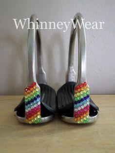 Rainbow rhinestone English stirrups by WhinneyWear www.whinneywear.com
