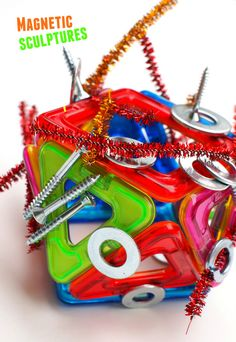 Kids STEAM activity- make magnetic sculptures from everyday items and toys!