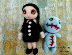 Needle felted dolls Wednesday and Voodoo set of by FunFeltByWinnie