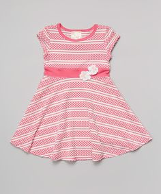 Take a look at the Pink & White Polka Dot Stripe Dress - Toddler & Girls on #zulily today!