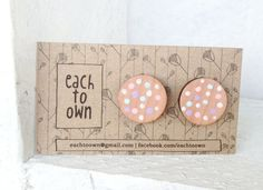 Hand Painted Confetti Studs Laser Cut  White Pink by EachToOwn, $22.00