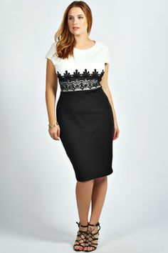 Boohoo plus: Nathalie Lace Detail Midi Dress