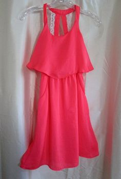 Paper Doll Girls Size 12 Dress Coral Flounce Front Sleeveless Lace Straps   #PaperDoll #Dressy