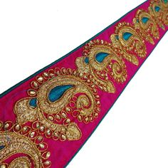 pink paisley jewel bead Sequin Indian wedding dance costume ribbon rhinestone