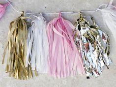 How to make Tissue Paper Tassel Garland (pink and gold) Diy Tassel Garland, Tassels, How To Make Tassle Garland, Christmas Cocktail, Gold Christmas, Tissue Paper Garlands, Ideas Prácticas, Paper Crafts, Diy Crafts
