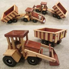Super ReallyWood Farm Tractor and Grain Dumper Wood Toy Plan Set Wooden Toy Farm, Wooden Toys, Little Boy Toys, Toys For Boys, Wood Toys Plans, Wood Creations, Diy Toys, Handmade Toys, Cool Toys