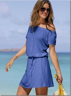 DIY Bathing suit cover:  Cut neck off oversize T, add elastic to neckline, sew channel for elastic waist or simply tie with a ribbon.